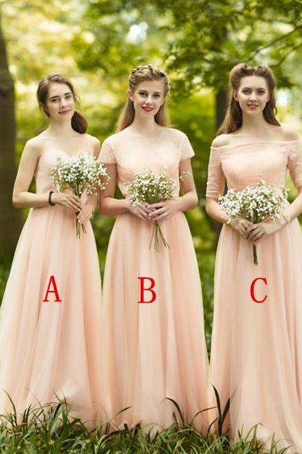 Blush Pink Bridesmaid Dresses, Mismatched Bridesmaid Dresses, Long Bridesmaid Dresses, A Line Bridesmaid Dresses, Cheap Bridesmaid Dresses, Wedding Party Dresses
