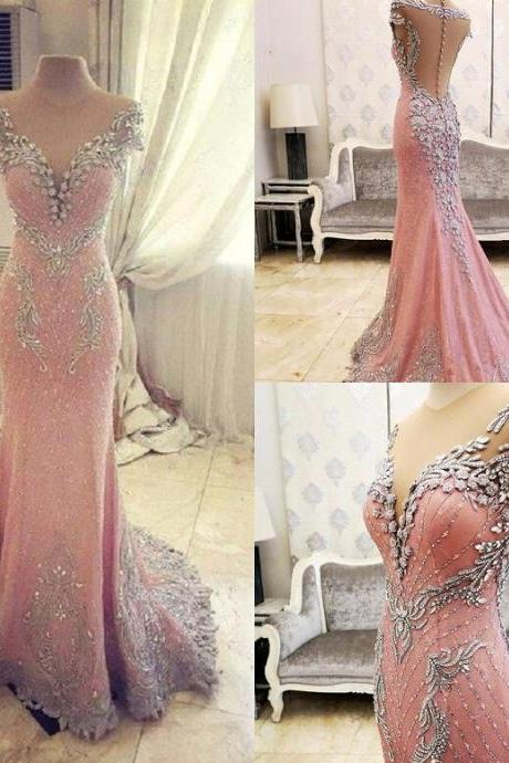 Cheap prom dresses 2017,New Arrival Prom Dress,Modest Prom Dress,Luxurious Crystal Pink Mermaid Evening Dress 2017 Zipper Button Back