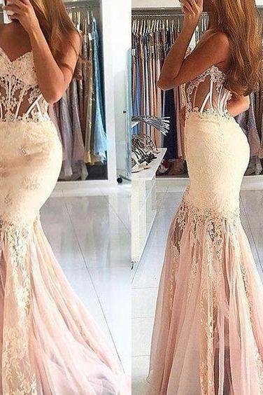Cheap prom dresses 2017,Mermaid Sweetheart Beading Floor-length Pearl Pink Prom Dress with Lace