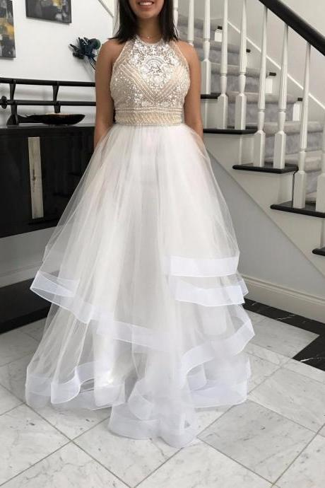 Cheap prom dresses 2017,Charming Prom Dress, Sleeveless Beaded Prom Dresses,A Line Tulle Prom Dresses, Floor Length Evening Dress,Backless Prom Gown
