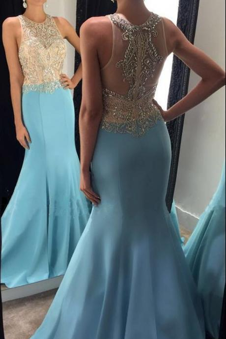 Cheap prom dresses 2017,Light Blue Evening Dress, Beaded Evening Dress, Crystal Evening Dress, Mermaid Evening Dress, Long Evening Dress, O Neck Evening Dress, Elegant Evening Dress, Sexy Formal Dress, Vestido De Festa De Longo