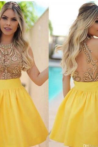 Cheap homecoming dresses 2017,Major Beading Sweet 16 Senior Homecoming Dresses Beaded Crystals See Through Back Short Prom Dresses Mini Cocktail Dresses