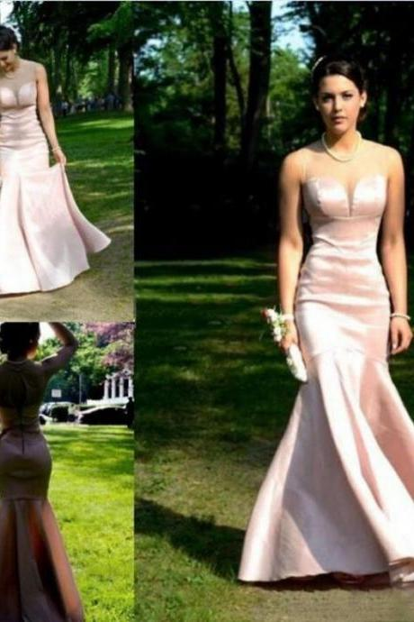 Cheap prom dresses 2017,2017 Long Large size Prom Dress Zipper Floor-length Round Sleeveless Satin Mermaid Discount