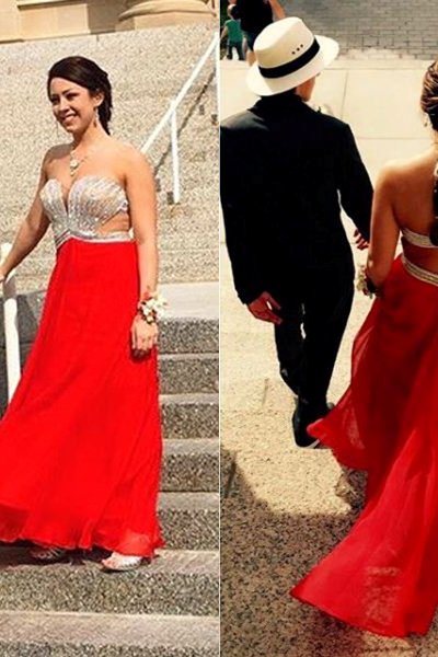 Cheap prom dresses 2017,2017 Long Plus Size Prom Dress Backless Crystal Floor-length Sweetheart Sleeveless Chiffon A-line Hot Sale