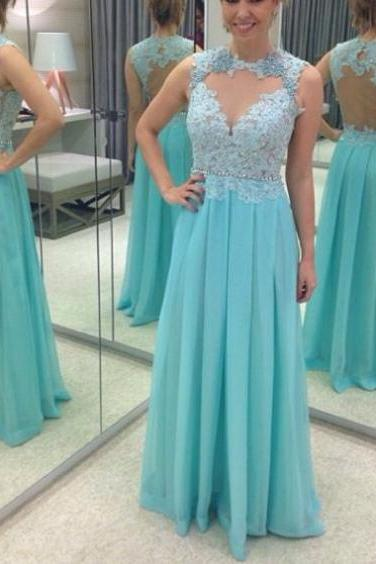 Cheap prom dresses 2017,2017 Long Plus Size Prom Dress Applique Floor-length Queen Anne Sleeveless Chiffon A-line Cheap