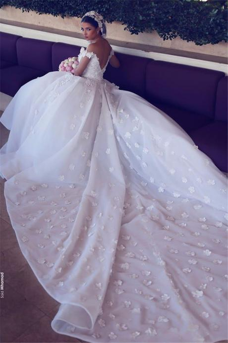 Ball Gown Wedding Dress,Luxury Flower Appliques Lace A-Line Wedding Dresses Unique V-Neck Backless Princess Wedding Dress Cap Sleeve Church Bridal Gowns