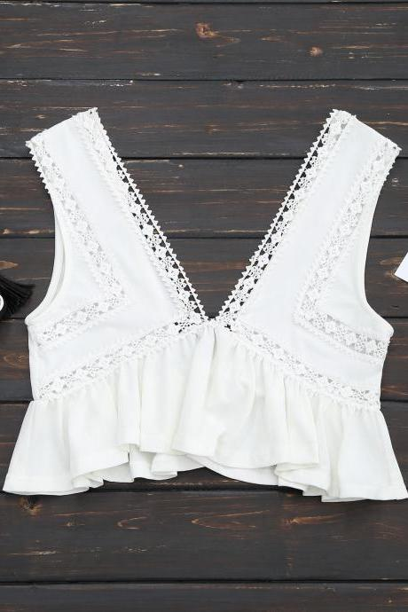 Sleeveless V-Neck Ruffle Crop Top with Lace Trim