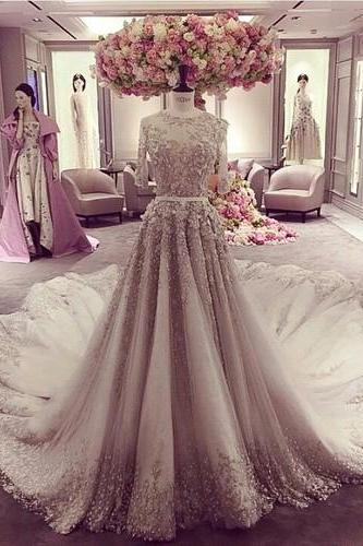 Lace Wedding Dresses,Lace Wedding Dress Sheer Back, Lace half sleeves Wedding Dress, Wedding Dress 2017, Wedding Dress