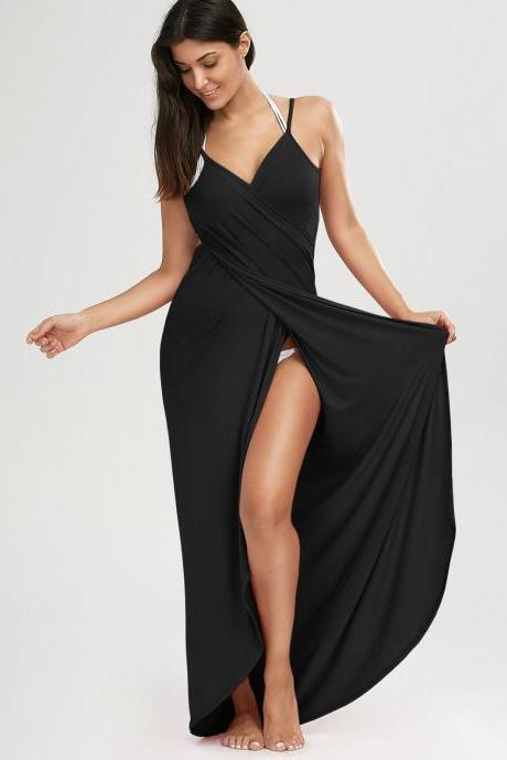 Beach Maxi Wrap Slip Dress - Black S