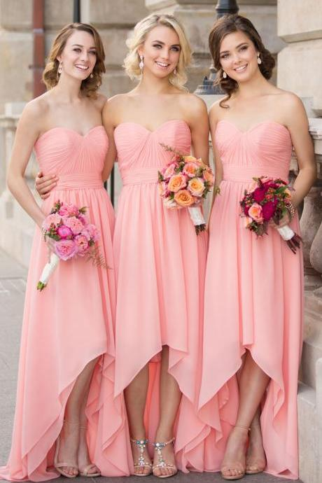 MACloth Strapless Chiffon High Low Bridesmaid Dress Pink Wedding Party Formal Gown