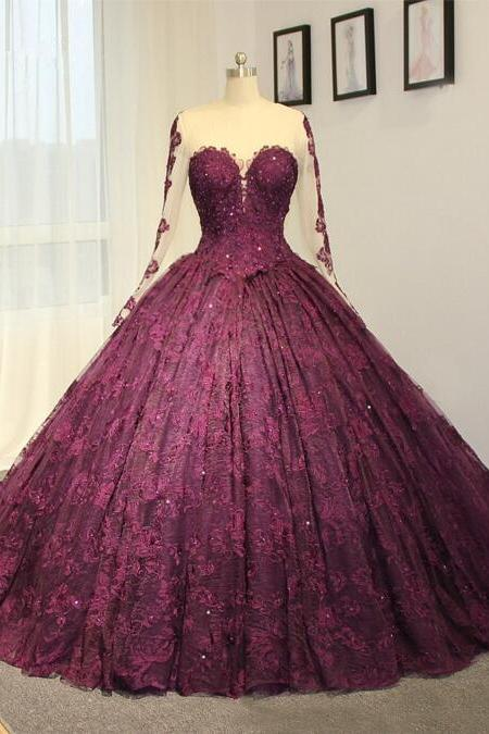 Cheap wedding dresses 2017,2017 New High-end wedding dress purple lace wedding dress long train Bridal dress Sweetheart Long sleeves wedding dress