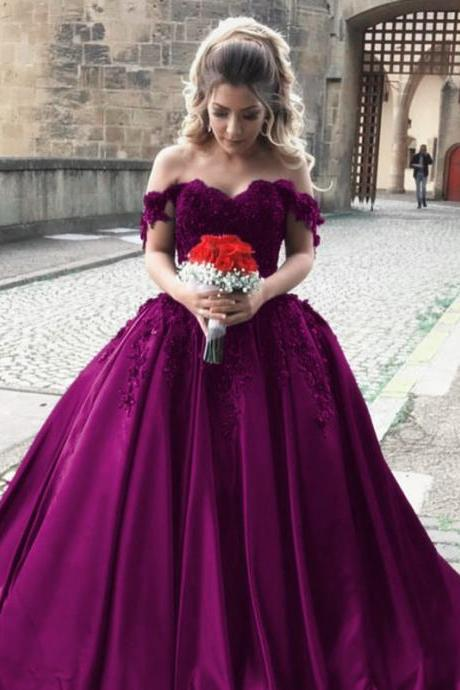 Cheap wedding dresses 2017,satin wedding gowns,off shoulder bride dress,elegant wedding dress,ball gowns wedding dresses,grape ball gowns