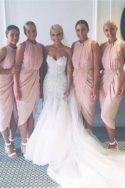 Cheap bridesmaid dresses 2017,pink bridesmaid dress,short bridesmaid dress,chiffon bridesmaid dress,elegant bridesmaid dress