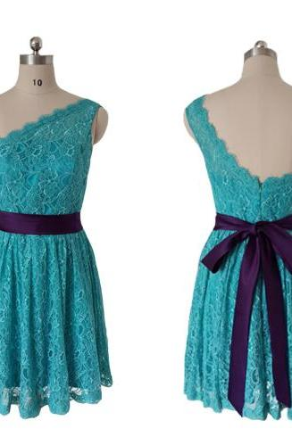 Cheap bridesmaid dresses 2017,Lace bridesmaid dress,short bridesmaid dress,one shoulder bridesmaid dress, junior bridesmaid dress, bridesmaid dress, custom bridesmaid dress,
