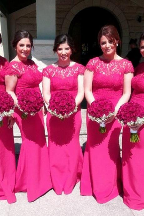 Cheap bridesmaid dresses 2017,pink bridesmaid dress,mermaid prom dress,lace appliques evening gowns,long bridesmaid dress,wedding party dress,women's evening gowns