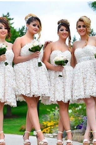 Cheap bridesmaid dresses 2017,New Arrival Full Lace Short Bridesmaid Dresses Sweetheart Floor Length A Line Mini Maid Of Honor Dresses Custom Made