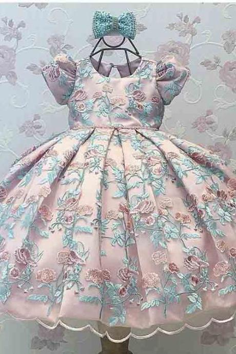 Fashion O Neck Short Sleeve Keyhole Back Bow Pleated Ball Gown Floor Length Little Flower Girl Dresses