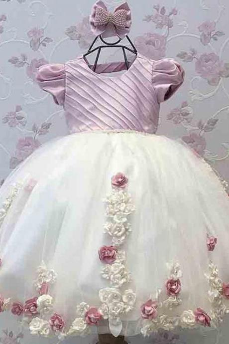 Cute O Neck Short Sleeve Appliqued 3D Flowers Bow Floor Length Ball Gown Little Girl Pageant Dresses