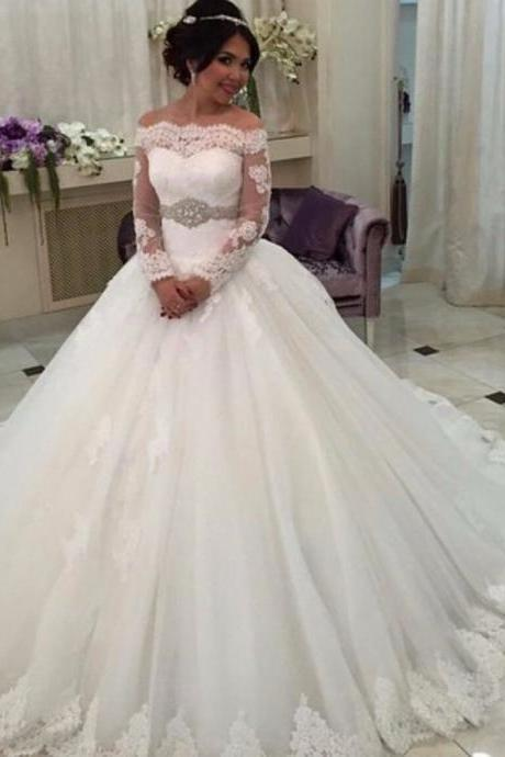 Cheap wedding dresses 2017,New 2017 Princess Lace Wedding Dresses, Off The Shoulder Wedding Dress Gowns
