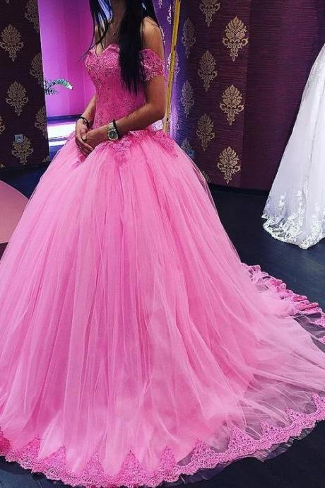 Cheap wedding dresses 2017,Long Quinceanera Dresses,Off the Shoulder Tulle Ball Gowns Sweet 16 Dresses,Pink Quinceanera Dresses,Ball Gowns Prom Dresses Wedding Dresses