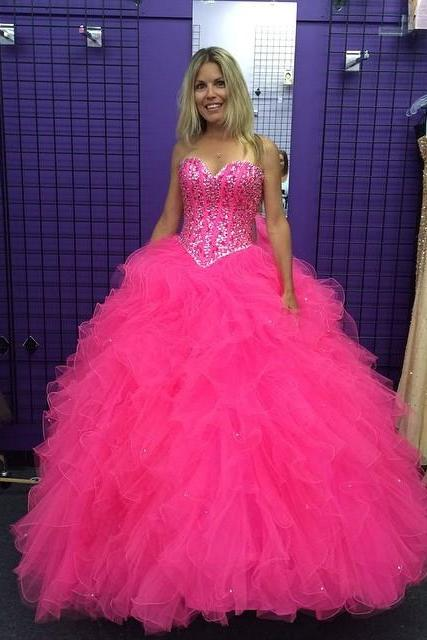 Cheap wedding dresses 2017,sequin beaded sweetheart organza ruffles pink quinceanera dresses 2017