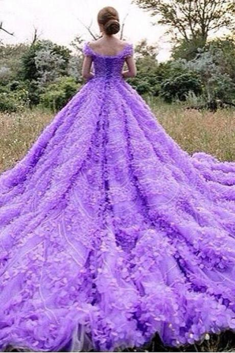 Cheap wedding dresses 2017,2017 Real Gorgeous Purple Ball Gown Luxury Scoop Off the Shoulder Beaded Crystal Flowers Wedding Dresses