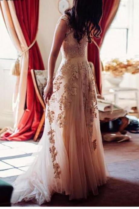 Cheap wedding dresses 2017,Champagne Lace Wedding Dress, Sexy V Neck Long Lace Bridal Gowns, A Line Floor Length Bridal Dress, Plus Size Lace Wedding Dress, Short Cap Sleeve Bridal Dresses, Cheap Champagne Wedding Gowns