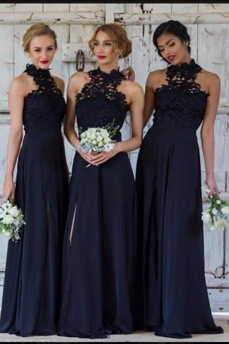 Elegant A-line Halter Dark Navy Chiffon Long Bridesmaid Dress with Slit