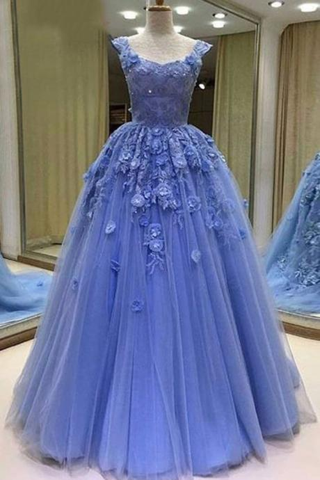 Cheap prom dresses 2017, Sexy Prom Dress,Tulle Ball Gown Prom Dresses, Blue Evening Dress,Long Evening Dresses,Sleeveless Lace Prom Dresses