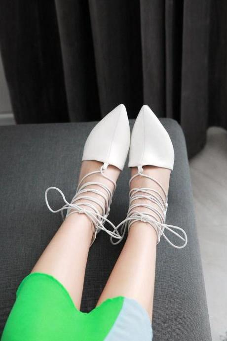 Women's Pure Color Pointed Toe Pump Sandals