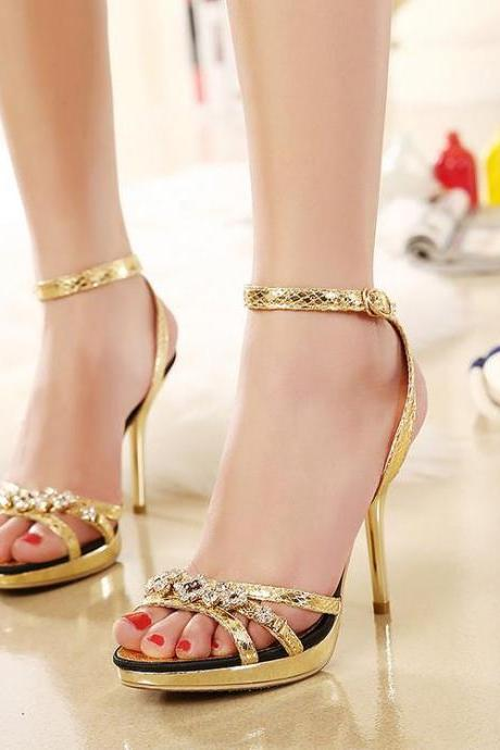Open-Toe Crystal Embellished Ankle Strap Stilettos, High Heels, Party Heels, Occasion Heels