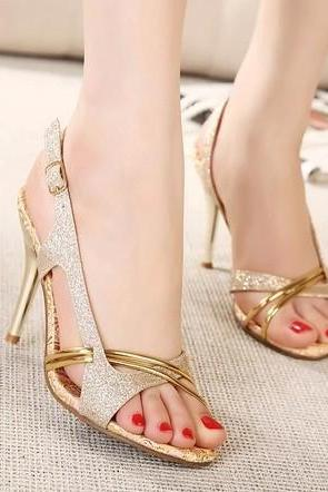 Open-Toe Embellished T-Strap Stilettos, Prom Heels, Party Heels