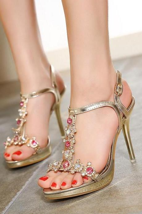 Women's Pure Color High Heel Thin Heel Fake Diamond Band Pumps