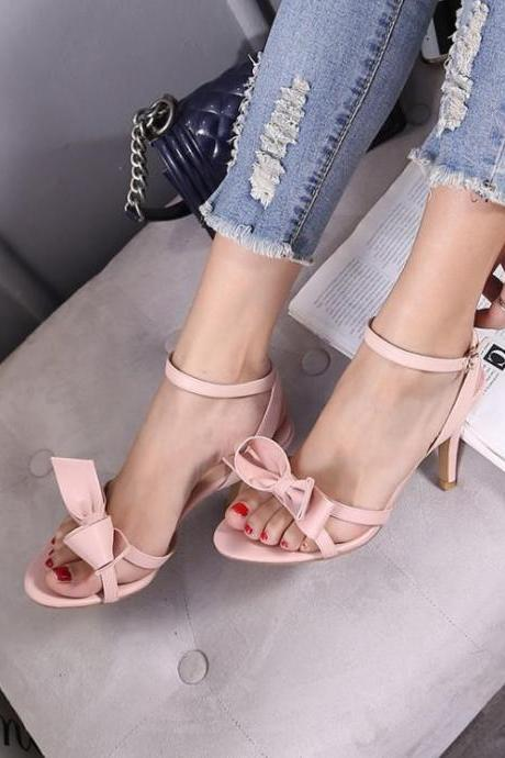 Women's Pure Color High Heel Thin Heel Band Bowknot Pumps