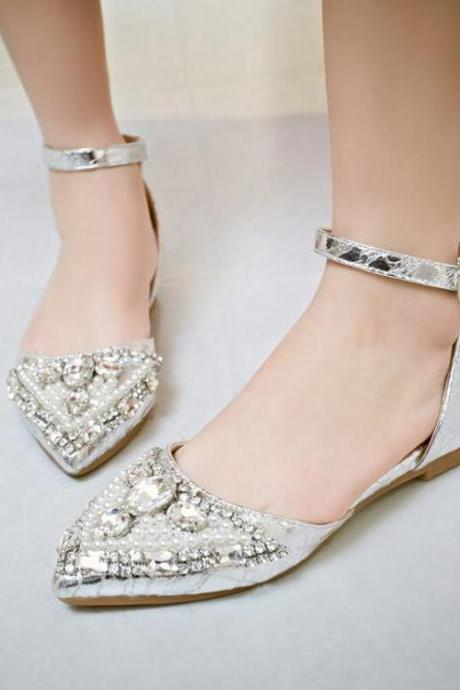 Women's Pure Color Flat Heel Fake Diamond Band Sandals-flip Flops