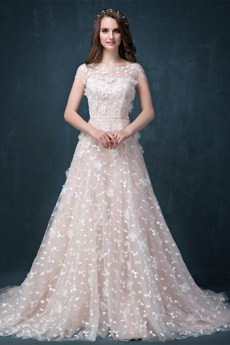 Cheap wedding dresses 2017,Luxury elegant tailing lace embroidery wedding dress