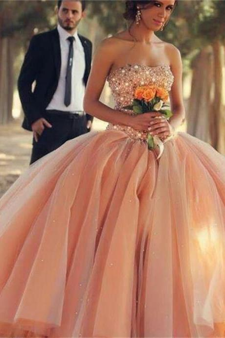 Cheap wedding dresses 2017,Charming Peach Color Cheap Quinceanera Dresses Ball Gown Luxury Crystal Top Party Debutante Wedding Gowns
