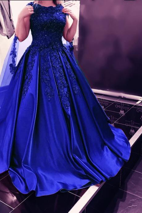 Cheap wedding dresses 2017,Royal Blue Ball Gowns,Satin Prom Gowns ,Lace Appliques Prom Dresses,Royal Blue Wedding Dress
