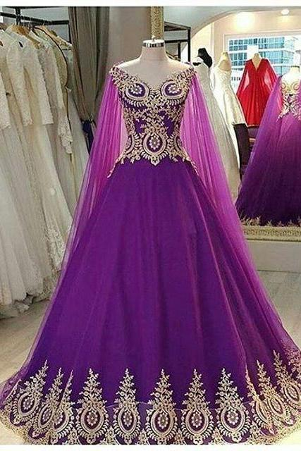 Cheap prom dresses 2017,Elegant V Neck Purple Prom Dresses Ball Gowns With Lace Appliques 2017