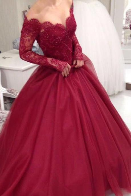 Cheap wedding dresses 2017,Sheer Scoop Neckline Long Sleeves Burgundy Ball Gowns Wedding Dresses,Elegant Party Dress,Prom Dresses 2017