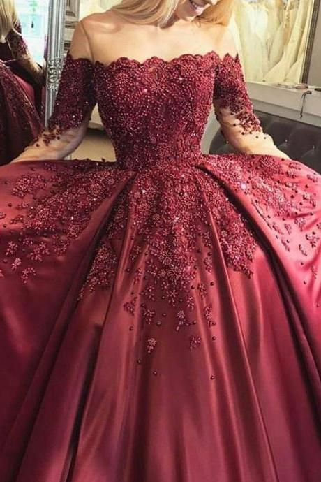 Cheap wedding dresses 2017,Full Beading Corset Ball Gowns Bridal Dresses with Long Sleeves,Wine Red Bridal Dresses,Satin Wedding Dressses