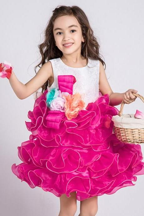 Cute Pink Organza Ruffled Flower Girls Dresses for Weddings Lovely Little Kids Pageant Dress