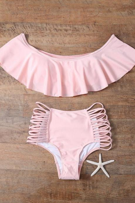 Off The Shoulder Cutout Flounced Bikini Set - Pink S
