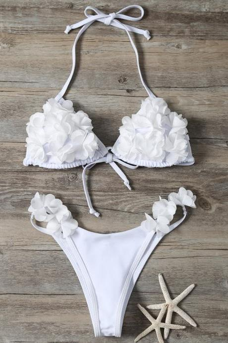Stereo Flower Bikini Swimwear - White S