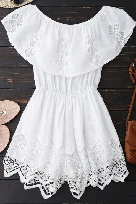 Lace Trim Cut Out Off Shoulder Romper - White M