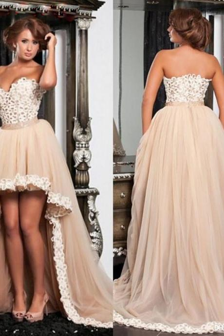 Cheap prom dresses 2017,High Low Prom Dress, Champagne Prom Dress, Prom Dresses 2017, Vestido De Festa De Longo, Sexy Prom Dress, Elegant Prom Dress, Women Formal Party Dress, Puffy Prom Dress, Cheap Prom Dress