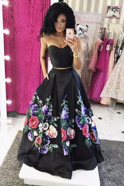 Custom Made Black Sweetheart Neckline Floor Length Two-Piece Satin Bridesmaid Dress with Floral Prints, Prom Dress