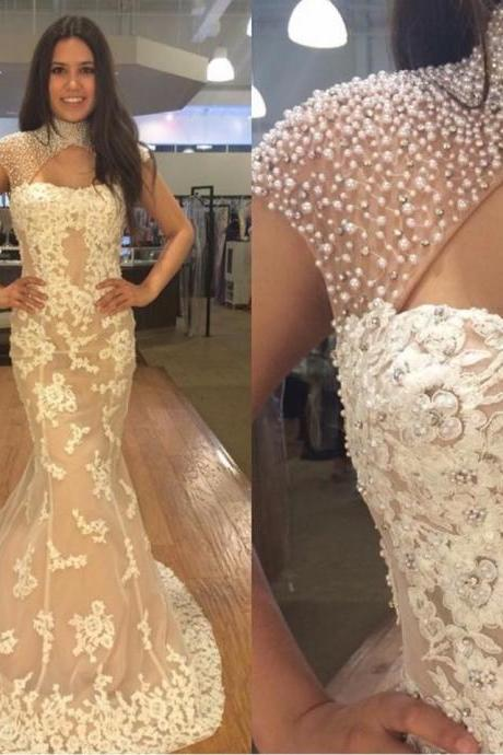 Cheap prom dresses 2017,Navy Blue Bridesmaid Dress, Lace Bridesmaid Dress, Cheap prom Dress, Mermaid high neck prom Dress,