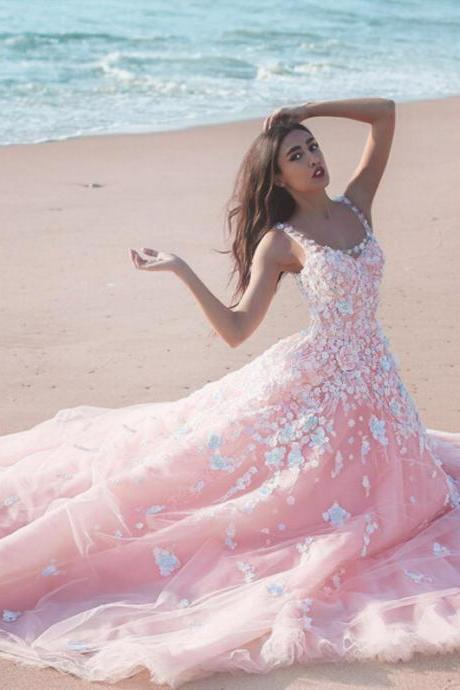 Cheap wedding dresses 2017,Pink Wedding Dress, Lace Applique Wedding Dress, A Line Wedding Dress, Chapel Train Wedding Dress, V Neck Wedding Dress, Wedding Dresses 2017, Cheap Bridal Dress, Elegant Wedding Dress