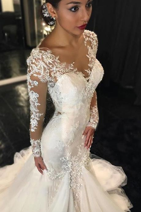 Cheap wedding dresses 2017,Long Sleeves Wedding Dress, Mermaid Wedding Dress, Tulle Wedding Dress,Sexy Wedding Dress, Long Wedding Gown,Ivory Wedding Dress,Wedding Dress